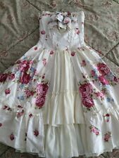 Victorian Lolita Ruffled, Floral Corset-Dress, Lace Necklace, Ready To Sho