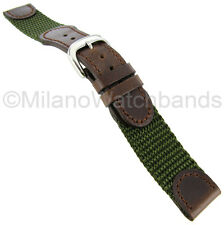 20mm Hadley Roma Swiss Army Style Olive & Brown Mens Watch Band Regular 866
