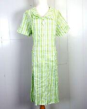 vtg 60s 70s Montgomery Ward Green Blue White Plaid Dress Diamond Figural Zip 46