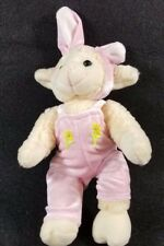 Plush Stuffed Lamb Sheep Dressed like Bunny Pink Overalls and ears