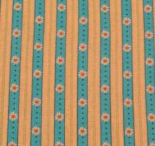 Daisy Stripe Print BTY on Deep Aqua Blue & Butter Yellow Floral Flower