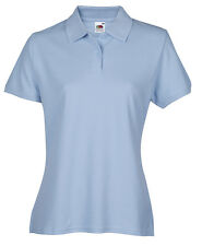 Fruit of The Loom Ss86 Ladies Polo Shirt Short Sleeve Polycotton Sport Casual Blue M