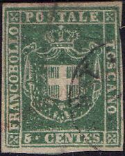 ITALIA-Stati Italiani-Toscana 1860 5c braccia di Savoia SG 40 handstamped