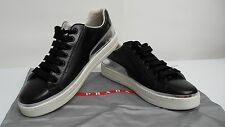 Prada Black Leather Linea Rossa Women's Low Top Sneaker Sz 39/9