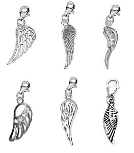 925 Silver Angel Wings Charms Clip on Clasp Pendant for Bracelet or Ancklet