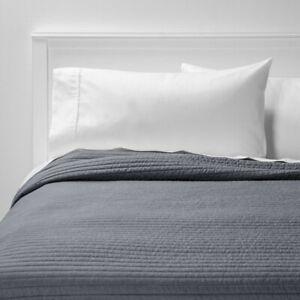ROOM ESSENTIALS Garment Washed Microfiber Quilt   FULL/QUEEN   Charcoal   🆕