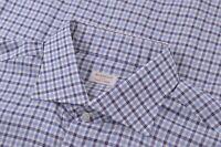 Borriello NWOT Dress Shirt Size 18 45 White & Blue Plaid Hand Made In Napoli