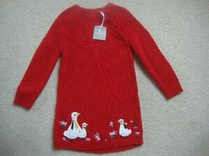 BNWT TU baby girl's red knitted dress age 12-18 - Geese, Christmas?