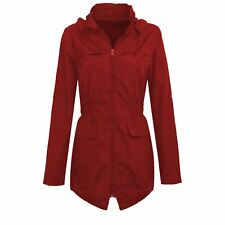 Womens Hooded Mac Lightweight Showerproof Plus Size Parka Rain Jacket Red 24