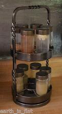 Vintage spice rack carousel glass container jars cast iron vtg