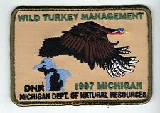 1997 MICHIGAN DNR SUCCESSFUL TURKEY-DEER HUNTER PATCH -HUNTING LICENSES- PINBACK
