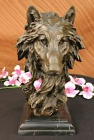 Bronze Sculpture,Hand Made Statue Animal Large Signed Lopez Wolf Art Deco Decor