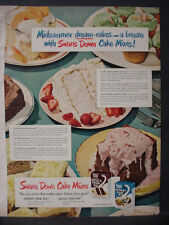 1951 Swans Down Cake Mixes Devil's Food Instant Cake Mix Vintage Print Ad 12323