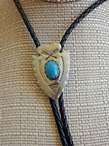 Western Arrow Head Leather Bolo Tie With Turquoise Stone - Silver Finish Nickel