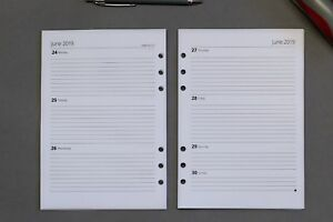 2021 - 2022  A5 Refill Inserts | Week-to-View | Fits Filofax | Start Any Month!