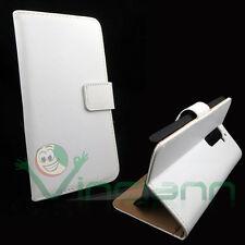 Custodia FLIP LINGUETTA cover stand BIANCA pr LG G2 D802 BOOKLET interni MARRONI