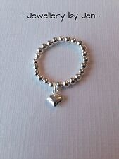 Sterling Silver Stretch Ring With Pretty Heart Drop. All Sizes. Beautiful Gift x