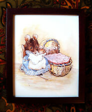 Adorable Beatrix Potter Print of Mama Mouse with Five Baby Mice Framed w/glass