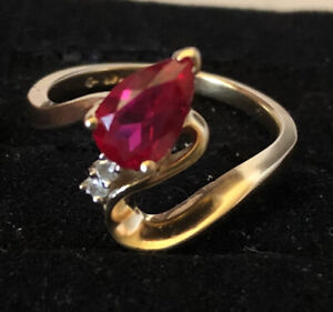 Vintage 14K Solid Gold Natural Ruby & Diamond Solitaire Ring  2.8 Sz 5.5