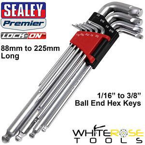 "Sealey Ball End Hex Key Set Lock On 9pc 1/16""-3/8"" Imperial SAE Allen Allan Keys"
