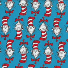 Dr Seuss Cat in Hat Red and White Stripe Hat Kids Quilt Fabric FQ or Metre *New*