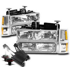 94-98 GMC C/K 1500 2500 SUBURBAN SIERRA HEADLIGHT LAMP +BUMPER+50W 8K HID CHROME