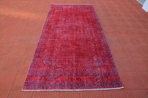 Red Overdyed Rug, Bright Color Rug Turkish,  Colored Vintage Rug, Oushak Rug, Vi