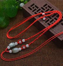 Chinese Natural DIY Grade A JADE beads Pendant Necklace Circle string cord rope
