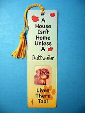 """Rottweiler"" A House Isn't Home - Dog Tassel Bookmark (flag gold tassel) Sku# 02"