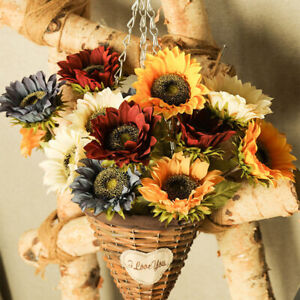 Sunflowers Artificial Flowers 7 Pcs Faux Silk Sunflowers  Bouquet Long Stems
