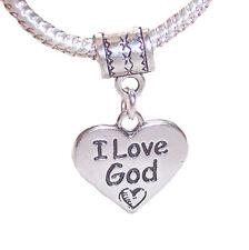 I Love God Heart Christian Gift Word Dangle Charm for European Bead Bracelets