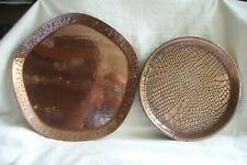 More details for two vintage copper serving trays.