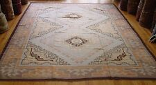 "9' x 11'9"" - Antique Native American Burnt water Navajo Wool Rug S.G. Initials !"