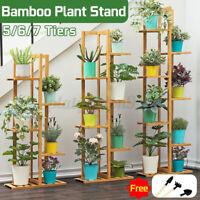 5/6/7 Tier Corner Wooden Plant Stand Ladder Flower pot Display Rack Shelf Holder