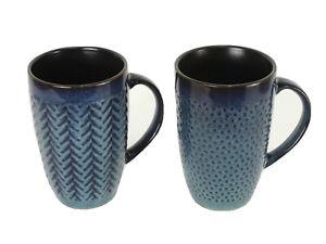 Set of 2 Laurie Gates Coffee Mugs California Design Embossed 22 fl oz Blue