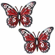 Small Red Metal  Butterfly Garden/Home Wall Art Ornament 11x8.5cm 2pk