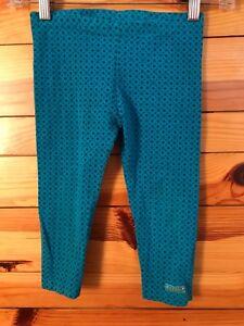 Naartjie Turquoise Floral Leggings Capri Cropped Pants Girls Size 6