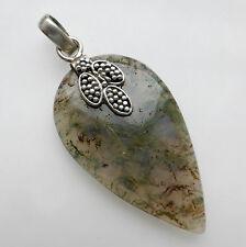 Moss Agate Pendant Solid Sterling Silver 925 Handmade Gemstone Jewellery