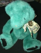 Gund 1992 Dated Jade Teddy Bear Bow Gold Heart With Year Plush Toy Stuffed Anima