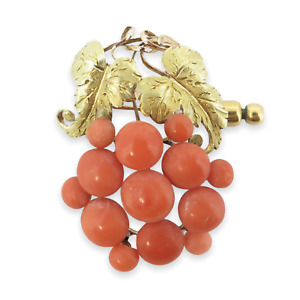 .A Vintage Classical 15ct Gold Coral Set Grape Vine Brooch Val 2500