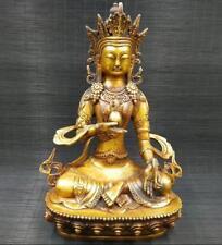 "11"" Old Chinese Tibetan Buddhism Brass statue longevity god Buddha Statues"