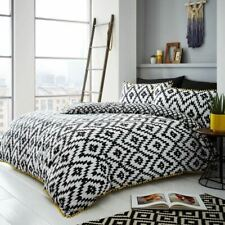 GEO POM POM DOUBLE DUVET COVER SET GEOMETRIC AZTEC STYLE BEDDING