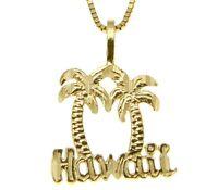 14K SOLID YELLOW GOLD DIAMOND CUT HAWAIIAN PALM TREE HAWAII CHARM PENDANT