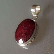 Pendentif argent massif 925 poinçonné et pierre naturelle rubis