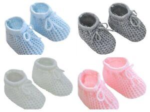 Neugeborenes Baby Boy Girl Strick Stengel Booties blau rosa weiß grau 0-3 Monate