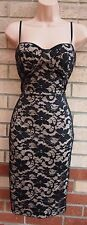 ASOS BLACK FLORAL LACE BEIGE SLIM STRAPPY PADDED BRA BODYCON PARTY DRESS 10 S