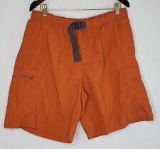 Columbia Mens Large Swim Trunks Board Shorts Orange Belted Elastic Waist Mesh...