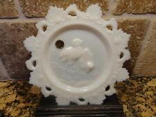 "Vintage White MILK GLASS Westmoreland Easter Chicks 7.5"" plate original sticker"