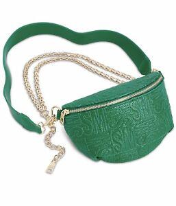 💯Steve Madden Randie Embossed Quilted Leather Crossbody Belt Bag Green Gold $68
