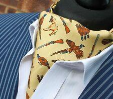 Silk Cravat Ascot.Quality Hand Made in UK. Huntsman Light Gold DBC09-19202-9